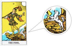 タロットカード「愚者」のイヌ